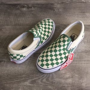 Vans Shoes - VANS Classic Slip-On (Checkerboard) Deep Grass Gre